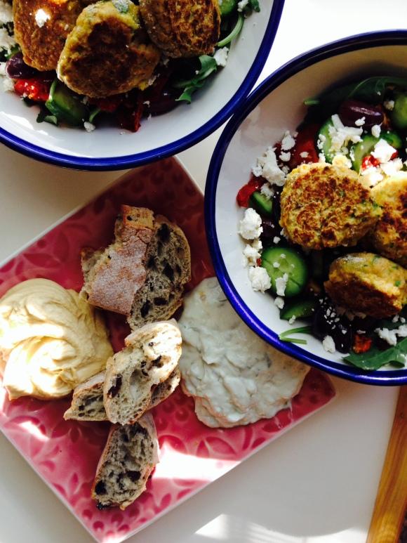 Warm Falafel Arugula Salad, HomemadeTzaziki