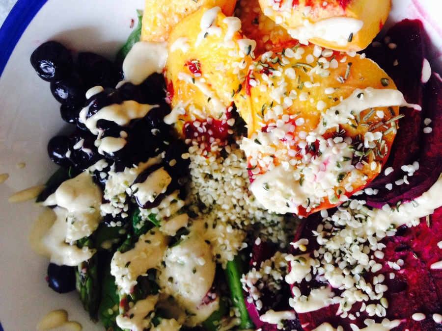 Burst Blueberry and Peach SpinachSalad