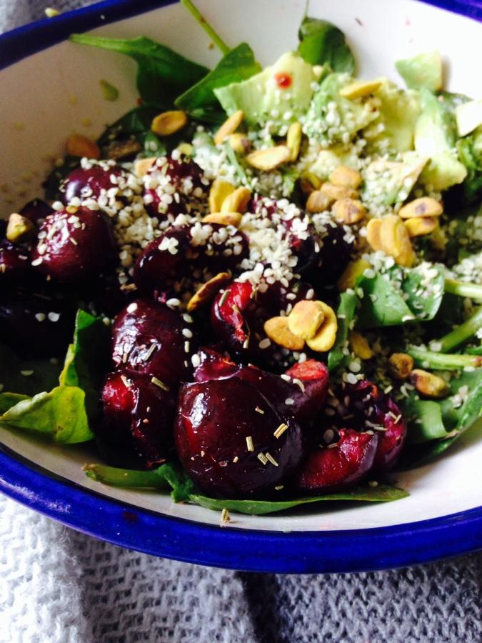 Roasted Cherry and Avocado Salad with Rosemary, Hemp &Pistachios