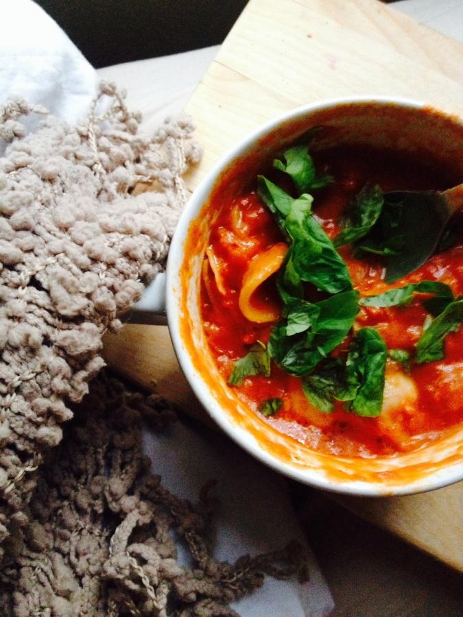 Creamy Tomato Basil Soup with Orecchiette & Roasted GarlicSpread