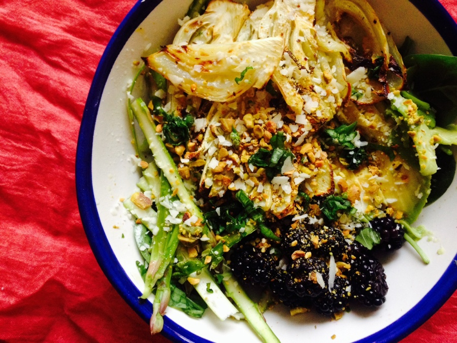 Roasted Fennel, Shaved Asparagus and BlackberrySalad