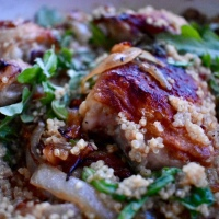 Cast Iron Chicken Thighs with Quinoa, Lemon & Arugula
